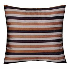 Brown Cream Striped Velvet Feel Plush Cushion Cover for Sofa Bed Silk Satin Back