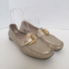 Stuart Weitzman Glow Leather Driver Moccasin Metallic Silver Womens 6.5 N