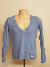 S623 WOMEN'S SUPERDRY PREMIUM BLACK LABEL LAMBS WOOL BLUE V-NECK JUMPER L 36""