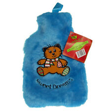 Hot Water Bottle Cosy Fleece Plush Bag - Fluffy Sky Blue Bear Cover