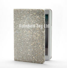 Bling Bling Handmade Clear Swarovski Crystal PU Leather Cover Case for iPad Mini