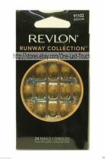 REVLON 24 Glue-On Nails RUNWAY COLLECTION Medium Length GOLD+BLACK Short #91102