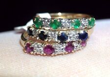 3 Ring Stackable Set! Ruby Emerald Sapphire and Diamond 14K Yellow Gold Sz 6.25