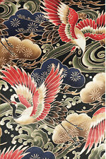 MAJESTIC CRANES:  BLACK Asian Japanese Quilt Fabric (By The Half Yd)