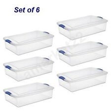 Sterilite Storage Boxes Set of 6 Plastic Wide, Shallow Under a Bed Clear