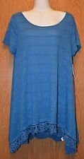 Womens Pretty Blue Lace Trim Knit All At Once Shirt Size Medium NWT NEW