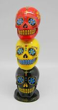 Day of the Dead Stacked Sugar Skulls Mexican Dia De Los Muertos Incense Tower