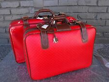 With Tags 2pc Vintage Gucci Italy Red Monogram Suitcases Luggage  (storage wear)