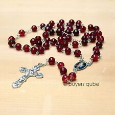 "Beautiful Red Divine Mercy Glass Beads Rosary 23"" Length"