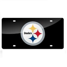 Pittsburgh Steelers Black Mirrored Laser Cut License Plate Laser Tag