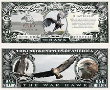 Le FAUCON - BILLET 1 MILLION DOLLAR US ! Collection Animal Rapace épervier aigle