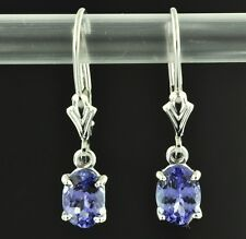 14k white gold lever back dangling oval Tanzanite earring AAA 1.90 carats USA