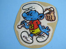 *RARE VINTAGE* BASEBALL SMURF PATCH EMBROIDERED PEEL AND STICK IRON-ON EMBLEM