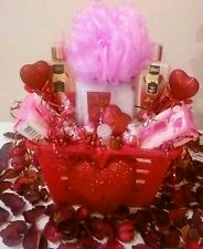 Valentine Gift Basket For Women Pink Spa Bath Body Foot Lotion Soap Chocolates