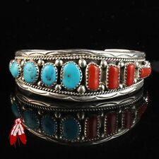 Beautiful blue turquoise Coral bracelet sterling silver vintage Navajo jewelry