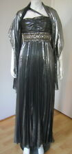 ALBERTO MAKALI Silver Evening Cocktail Long Pleated Beaded Dress Size 6 NWT
