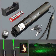 Military Focus Burn 5mw 532nm 303 Green Laser Pointer Pen Adjustable+Battery