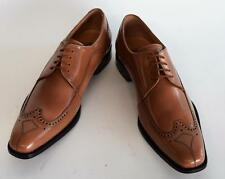 New Men's Liberty Leather Wing Tip Oxford Tan and White Dress Shoes L750