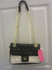 Betsey Johnson Be Mine Black/Bone Shoulder Bag Quilted Heart BB16355 NWT