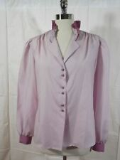 Vtg 1980s Salem USA Dusty Rose Silky Polyester STAND UP RUFFLE COLLAR LS BLOUSE