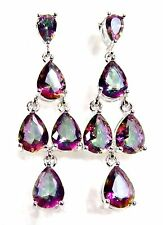Sterling 925 Silver SF Post Earrings 8*6mm & 6*4mm Mystic Rose Rainbow Topaz