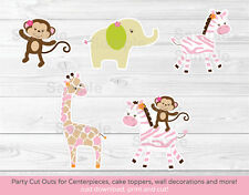 Safari Girl Jungle Animals Party Cutouts Decorations Printable