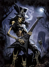Skull Music Guitarist Lenticular 3D Picture Poster Painting Home Wall Art Decor