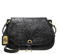 LAUREN Ralph Lauren 'Paulden' Leather Crossbody Messenger Bag Handbag Black $368