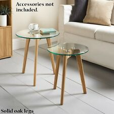 New Stylish Solid oak legs Aiden Table Set 2pc clear glass top