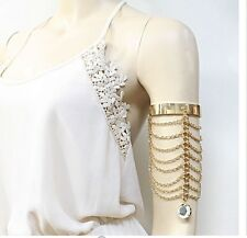 Metal Gold Upper Arm Fringe Pageant Cuff Gypsy Costume Crystal Bracelet