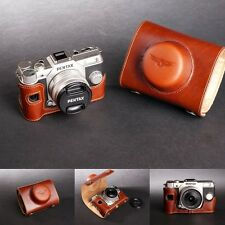 Handmade Vintage Full Real Leather Camera Case for Pentax Q10(8.5mm Prime Lens)