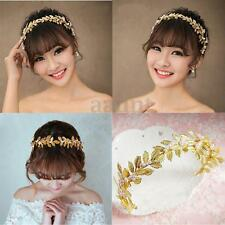 Women Bride Gold Leaf Headband Wedding Bridal Hair Band Headpiece Jewelry