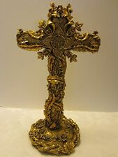 """Poly resin gilded standing Religious cross crown thorns and roses base 16"""" tall"""