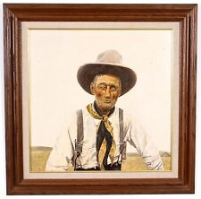 "Wilson James Crown Point Indiana Artist Acrylic on Board Hoosier Cowboy 29"" x29"""