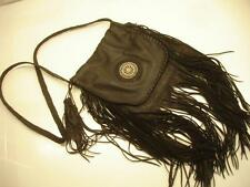 black brain tanned deer fringe leather bag possibles beaded messenger shoulder