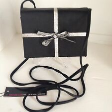 VTG 1960's ANDREA PFIZER Black SATIN Evening Box Purse w/ SILVER BOW Cross-body