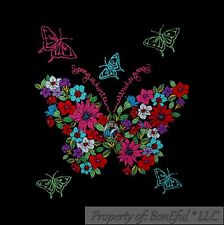 BonEful Fabric FQ Cotton Quilt Black Butterfly Peace Flower Hippie Block Square