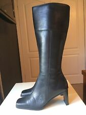 Hush Puppies Ladies Designer Black Leather Knee High Heel Shoe Boot Size 3 37