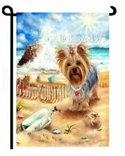 YORKIE by sea painting Message in a bottle GARDEN FLAG Yorkshire Terrier Dog ART