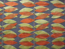 SANDERSON CURTAIN/UPHOLSTERY FABRIC MIRO 2.35 METRES LIME/ORANGE CUT VELVET