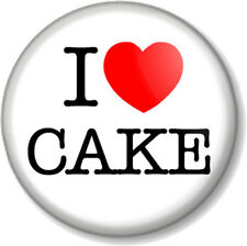 "I Love / Heart Cake 1"" 25mm Pin Button Badge Great British Bake Off food gift"