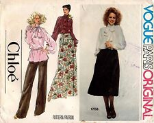 70's VTG VOGUE Blouse,Skirt, Pants Chloe Pattern 1763 10 UNC