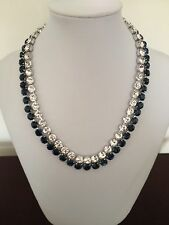 Swarovski Signed Hot Montana Blue & Clear Crystals Collar Necklace NWT 1062660