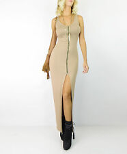 Taupe URBAN MAXI Zip Up Sleeveless Long Bodycon Stretch Sexy Slit Knit Dress M
