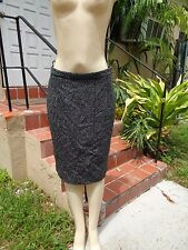 VALENTINO HIVER 2008 DARK GRAY WOOL TWEED SKIRT Sz 8 NWT $990 MADE IN ITALY
