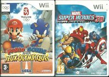 Lot 4 jeux Wii Mario Sonic aux J.O. Marvel super heroes 3D Space Camp Need for S