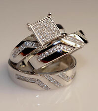 Men And Ladies White Gold Finish Trio Set Wedding  Engagement Rings L7M 10