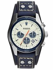 Fossil Men's CH3051 Coachman Chronograph Cream Dial Blue Leather Watch