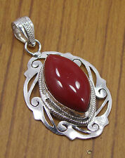 925 SILVER PLATED RED CORAL FILIGREE NEW COLLECTION BIG PENDANT LENGTH-2 V02145