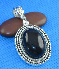 Lovely NEW Tibet Silver Oval Black Turquoise Pendant 1.5 inches